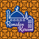 Ramadan greeting card with mosque silhouette. Greeting card design for muslim holy month of Ramadan Mubarak with silhouette of mosque and wishes Ramadan Kareem Royalty Free Stock Photo