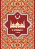 Ramadan greeting card red. Ramadan greeting card with the image of the big beautiful mosque and east ornament in Moorish style. Vector template Stock Image
