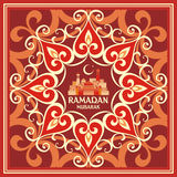 Ramadan greeting card red. Ramadan greeting card with the image of the mosque, minarets  and middle east ornament in Moorish style. Vector template Royalty Free Stock Images