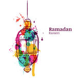 Ramadan greeting card with traditional watercolor lantern. Ramadan Kareem watercolor background. royalty free illustration