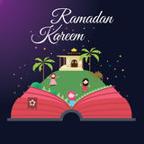 Ramadan greeting cards kids and mosque with starry night Islam celebration month Stock Photos