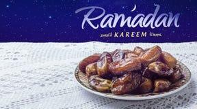 Ramadan greeting with dates Stock Photo