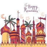 Ramadan greeting illustration with silhouette of mosque. Multicolor seamless background. Ramadan Kareem. Creative design. Ramadan greeting seamless pattern with vector illustration