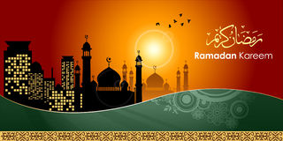 Ramadan greetings in Arabic script. An Islamic greeting card for holy month of Ramadan Kareem with illuminated lamp. Vector Illustration, EPS 10 Royalty Free Stock Photo