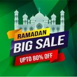 Ramadan grote Verkoop, Webkopbal of het ontwerp van de banneraffiche met toenemende moskee en vlakke 80% van aanbiedingen op bloe royalty-vrije illustratie