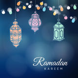 Ramadan hand drawn Arabic lanterns with a string light bulbs. Royalty Free Stock Photo