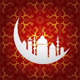 Ramadan holy month symbol with moon and mosque Royalty Free Stock Photography