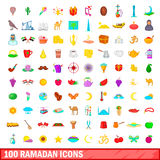100 ramadan icons set, cartoon style. 100 ramadan icons set in cartoon style for any design vector illustration Stock Photo