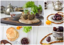 Ramadan and iftar food collage - falafel, dates fruits, bread and islamic rosary. Ramadan and iftar food collage - falafel, dates fruits, bread and islamic Royalty Free Stock Images