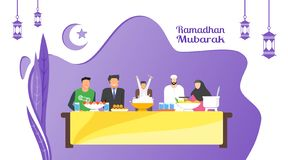Ramadan iftar party vector illustration