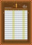 Ramadan Imsakia oder Amsakah-Kalender-Zeitplan - das Fasten und das Gebet setzen Zeit Führers fest Lizenzfreie Stockfotografie