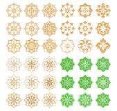 Ramadan Islam sex för kronbladtecken för stjärnor åtta uppsättning vektor illustrationer
