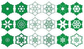 Ramadan islam sześć gwiazd sześć płatków podpisuje set royalty ilustracja