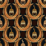Ramadan Islam twin moon symmetry seamless pattern. This illustration is drawing double moons around with Ramadan Islam lantern building in symmetry seamless Stock Images