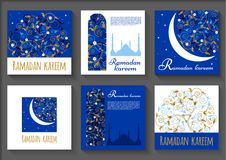 Ramadan. Islamic holy holiday Ramadan. White, blue, gold Ramadan Kareem royalty free illustration