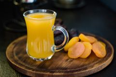 Ramadan juice for iftar made from fresh apricots with dried apricots and dates. Royalty Free Stock Photos