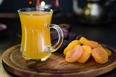 Ramadan juice for iftar made from fresh apricots with dried apricots and dates. Royalty Free Stock Images