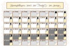 Ramadan kalendarz 2017, 28th Maj Sprawdza daktylowego wybór Zawiera: pości kleszczowy kalendarz, księżyc cykl - fazy, 30 dni royalty ilustracja