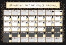 Ramadan kalendarz 2017, 28th Maj Sprawdza daktylowego wybór Zawiera: pości kleszczowy kalendarz, księżyc cykl - fazy, 30 dni Rama Zdjęcia Royalty Free