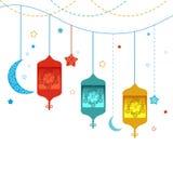Ramadan Kareem με τους λαμπτήρες, τις ημισελήνους και τα αστέρια Παραδοσιακό φανάρι του διανύσματος Ramadan διανυσματική απεικόνιση