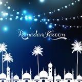 Ramadan kareem με το μουσουλμανικό τέμενος και το φοίνικα Στοκ φωτογραφία με δικαίωμα ελεύθερης χρήσης