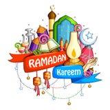 Ramadan Kareem που ευλογεί για το υπόβαθρο Eid διανυσματική απεικόνιση