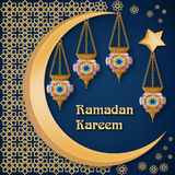 Ramadan Kareem abstrai o molde do fundo com lanternas, lua, estrela, texto e o ornamento árabe Fotografia de Stock Royalty Free