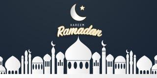 Ramadan kareem 2019 achtergrond Document besnoeiings vectorillustratie met moskee en maan, stock illustratie