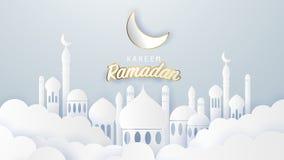 Ramadan kareem 2019 achtergrond Document besnoeiingsillustratie met moskee en maan, royalty-vrije illustratie