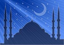 Ramadan Kareem-achtergrond Het Silhouet van Crescent Moon en van de Moskee Vector illustratie vector illustratie