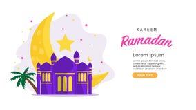 Ramadan kareem 2019 achtergrond illustratie met moskee en maan, vector illustratie