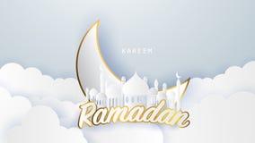 Ramadan kareem 2019 achtergrond illustratie met moskee en maan, stock illustratie