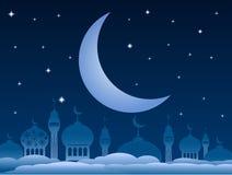 Ramadan kareem achtergrond met moskee en maan op nachthemel Vec royalty-vrije illustratie