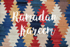 Ramadan kareem. Or aid mubarak written on carpet royalty free illustration