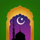 Ramadan kareem arab islamic window view at midnight Stock Image