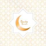 Ramadan Kareem. Arabian background with moon, gold pattern and typography.