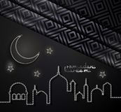 Ramadan Kareem arabic greeting card. Ramadan Kareem concept banner with islamic geometric patterns, crescent moon and star. vector illustration