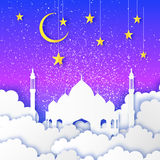 Ramadan Kareem. Arabic Mosque, gold stars, clouds in paper cut style. Crescent Moon. Night sky. Origami Greeting card Royalty Free Stock Photos