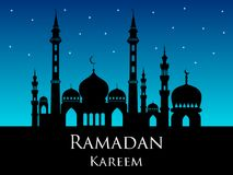 Ramadan kareem arabic mosque silhouette magic night background. Or backdrop Royalty Free Stock Photos