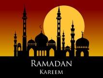 Ramadan kareem arabic mosque silhouette sunset sunrise backgroun Stock Images