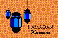 Ramadan kareem arabic pattern lanterns fanous background Royalty Free Stock Images