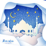 Ramadan Kareem. Arabic White Origami Mosque. Paper cut Desert Cave Landscape. Clouds. Gold stars. Night sky. Holy month Royalty Free Stock Image