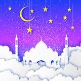 Ramadan Kareem Arabische Moskee, gouden sterren, wolken in document besnoeiingsstijl Toenemende maan De hemel van de nacht De kaa vector illustratie