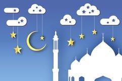 Ramadan Kareem Arabische weiße Moschee, Wolken, Goldsterne im Papier schnitt Art Sichelförmiger Mond Heiliger Monat von Moslems S lizenzfreie abbildung