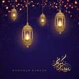 Ramadan kareem background with Arabic Calligraphy and golden lanterns. Greeting card background with a glowing hanging lantern. Mixed with a flickering glow royalty free illustration