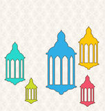 Ramadan Kareem Background with Colorful Lamps Fanoos. Illustration Ramadan Kareem Background with Colorful Lamps Fanoos - Vector vector illustration