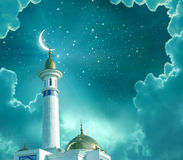 Ramadan Kareem background.Crescent moon at a top of a mosque.Islamic greeting Eid Mubarak cards for Muslim royalty free illustration