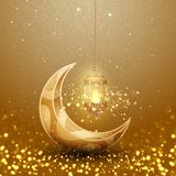Ramadan kareem background with glowing hanging lantern and moon. Greeting card background with 3D style stock illustration
