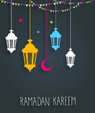 Ramadan Kareem background with hanging colorful lamps and stars. Handwritten text Royalty Free Stock Image
