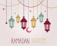 Ramadan Kareem background with hanging lamps and stars. Vector illustration Royalty Free Stock Photography